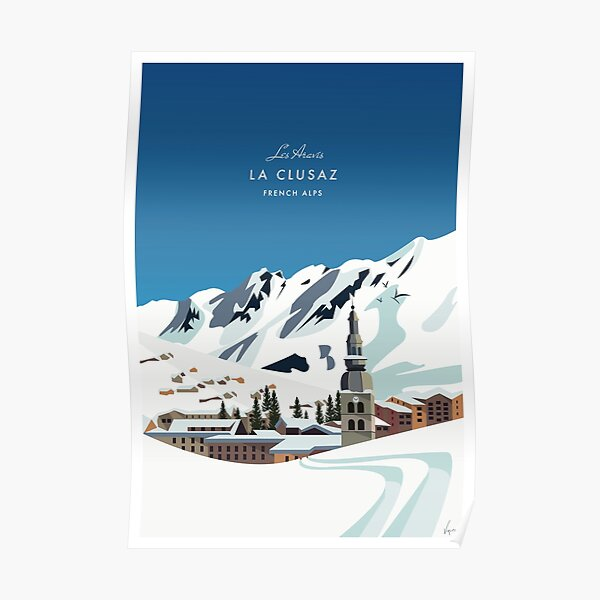 La Clusaz - Alpes franceses - Cartel de diseño plano. Póster