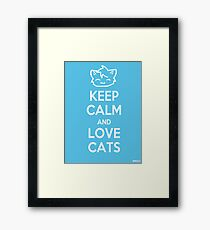 Keep Calm and Love Cats (Blue) Framed Print