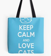 Keep Calm and Love Cats (Blue) Tote Bag