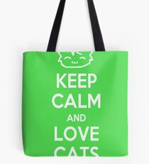 Keep Calm and Love Cats (Green) Tote Bag