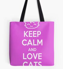 Keep Calm and Love Cats (Pink) Tote Bag