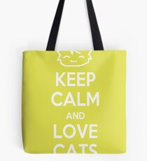 Keep Calm and Love Cats (Yellow) Tote Bag
