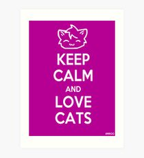Keep Calm and Love Cats (Purple) Art Print