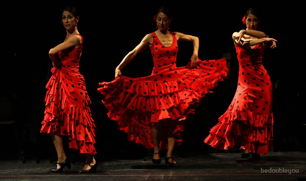 Toca Flamenco Red Triple by bedoubleyou