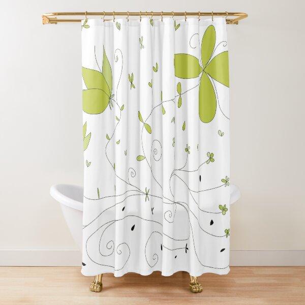 Green flowering Shower Curtain