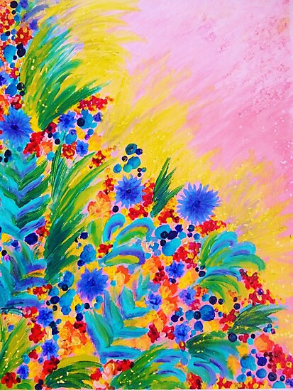 NATURAL ROMANCE in PINK - October Floral Garden Sweet Feminine Colorful Rainbow Flowers Painting by EbiEmporium