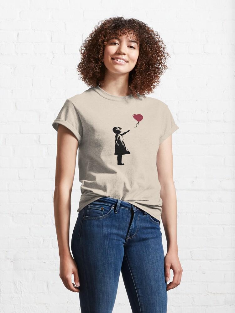 Alternate view of Girl With Red Balloon, Banksy, Streetart Street Art, Grafitti, Artwork, Design For Men, Women, Kids Classic T-Shirt