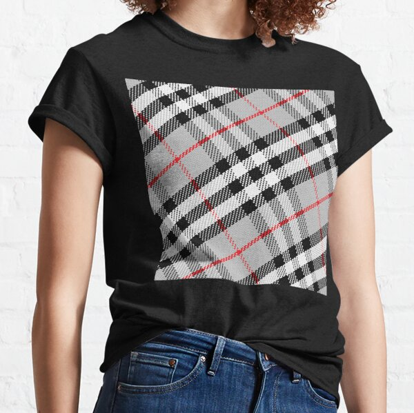 Scottish tartan black, white, red and grey Classic T-Shirt
