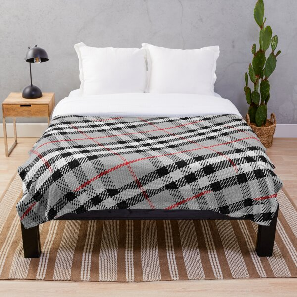 Scottish tartan black, white, red and grey Throw Blanket
