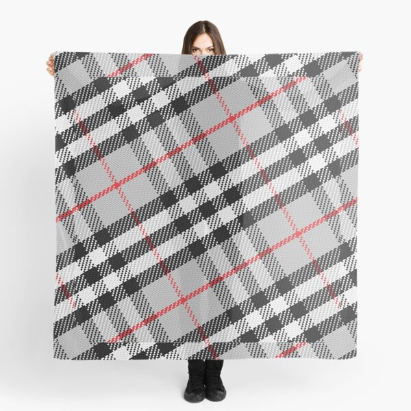 Scottish tartan black, white, red and grey Scarf