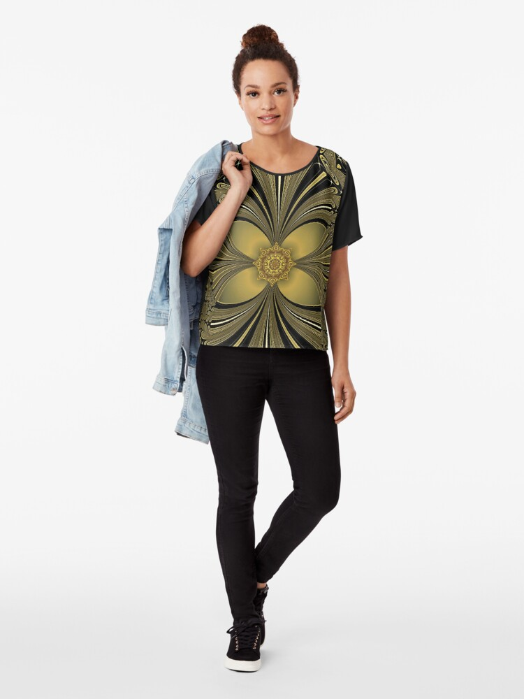 Alternate view of Decorative Golden Floral (1) Chiffon Top