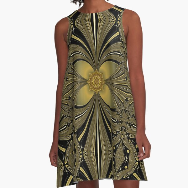 Decorative Golden Floral (1) A-Line Dress