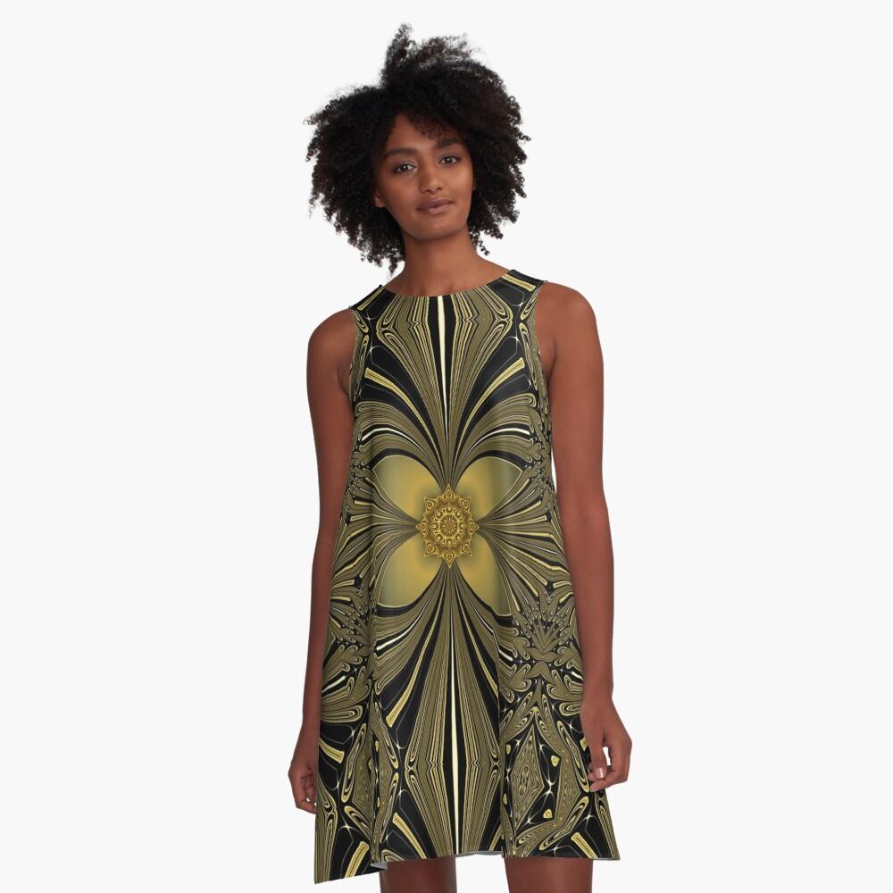 Decorative Golden Floral (1) A-Line Dress