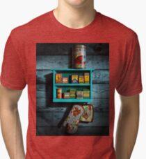 Vintage Spice Rack and Spice Tins, Spice Vintage Spice Tins, Nostalgic Spice Cans Art, Americana Kitchen Decor  Tri-blend T-Shirt