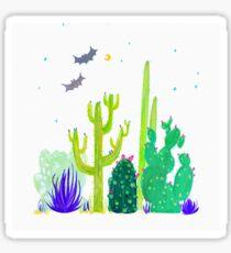 Green Cacti Watercolour & Bats Sticker