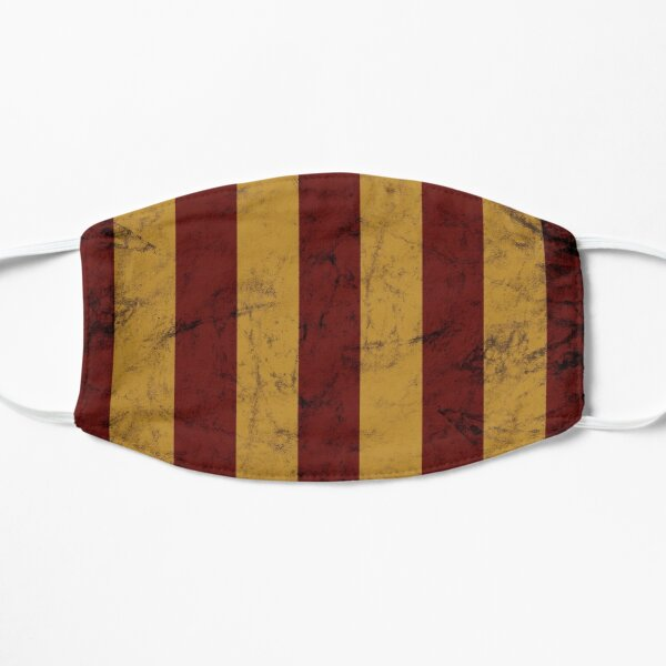 Retro Red and Gold Geometric Striped Pattern Flat Mask
