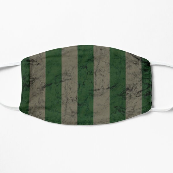 Retro Green and Silver Abstract Geometric Striped Pattern Flat Mask
