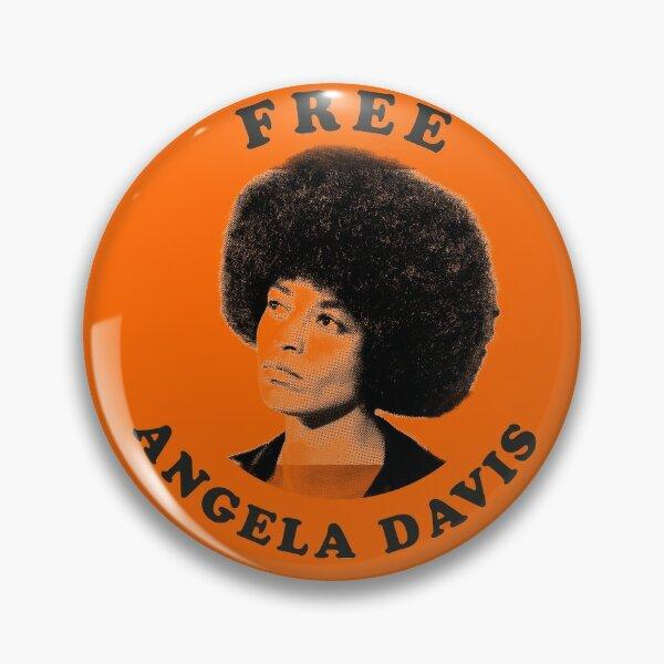 BLACK PANTHERS: 'Free Angela Davis': Original Black on Bright Orange Pin