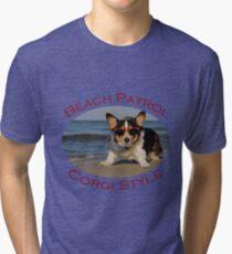 Beach Patrol Corgi Style Tri-blend T-Shirt