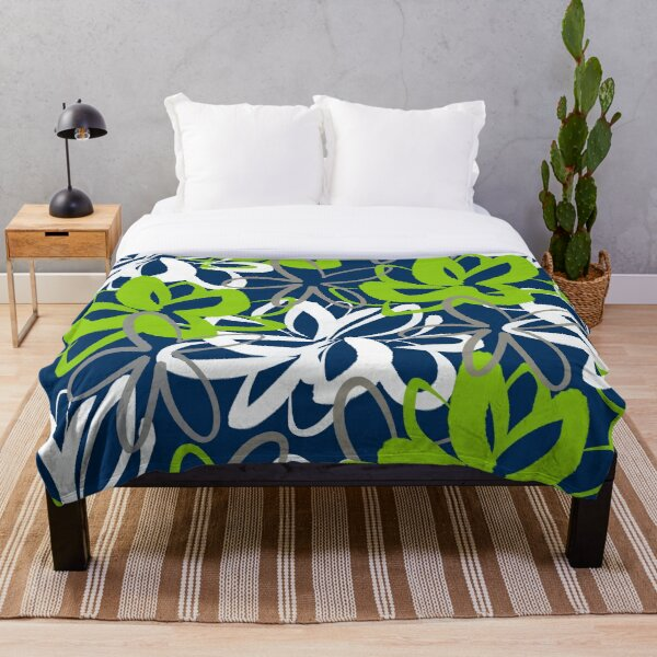 Lotus Garden Painted Floral Pattern in Lime Green, White, Gray, and Navy Blue Throw Blanket