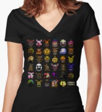 Multiple characters (New set) - Five Nights at Freddy's - Pixel art  Women's Fitted V-Neck T-Shirt