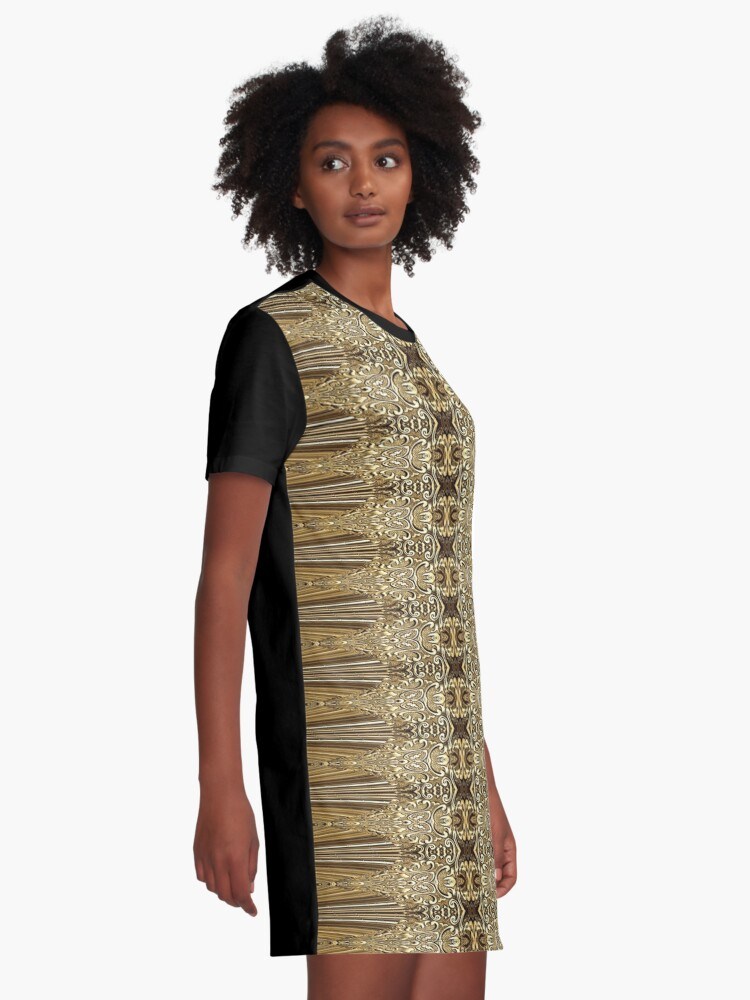 Alternate view of Golden Floral (3)  Graphic T-Shirt Dress