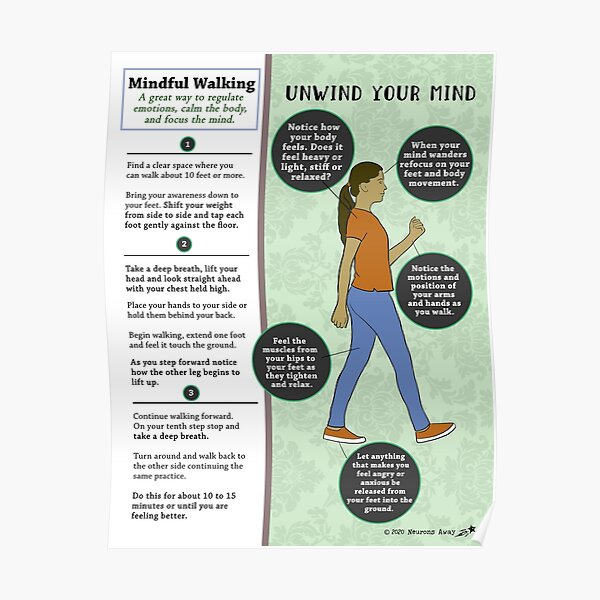 Mindful Walking - Mental Health - Coping Skills Poster
