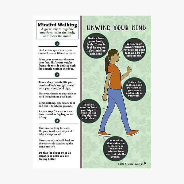 Mindful Walking - Mental Health - Coping Skills Photographic Print