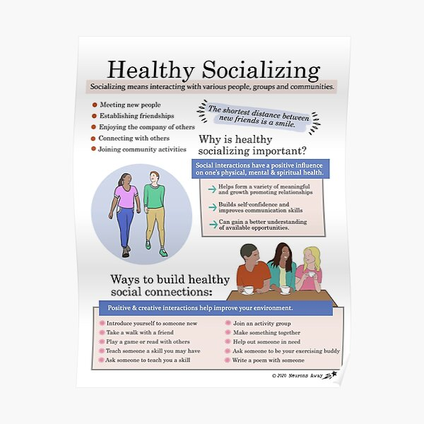 Healthy Socializing - Self Care Posters - Coping Skills Poster