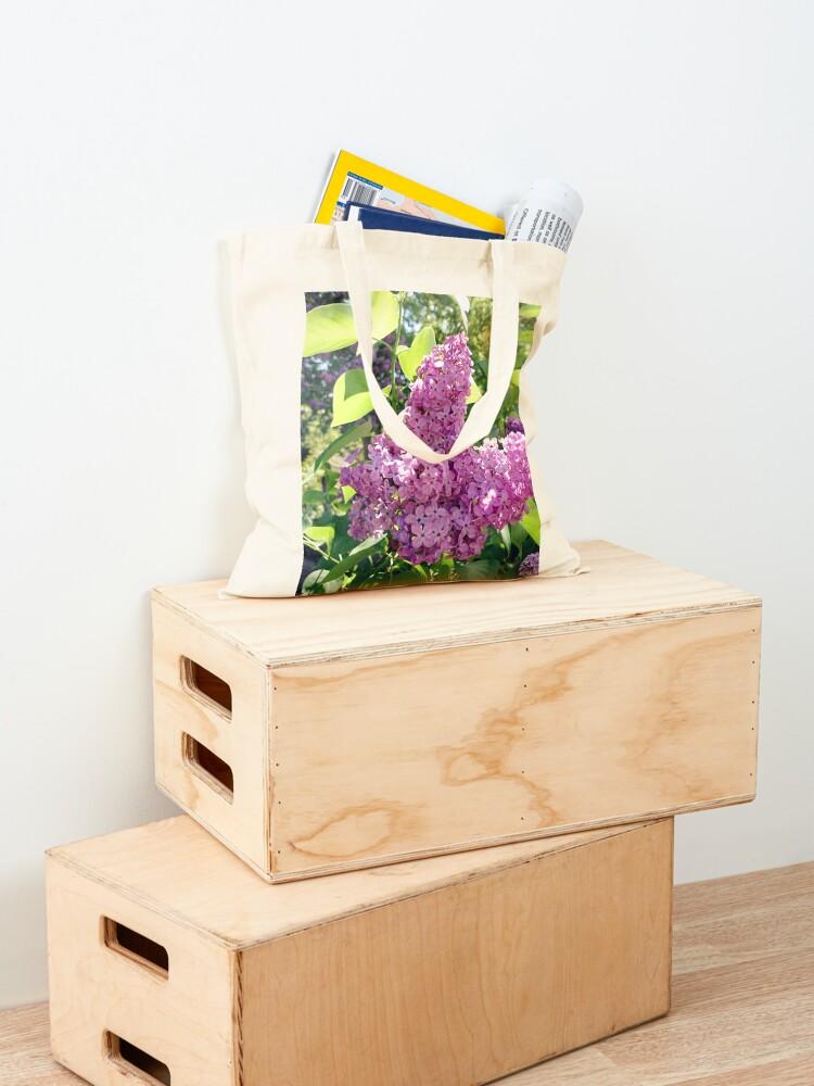 Alternative Ansicht von Flieder-Blüte Stofftasche