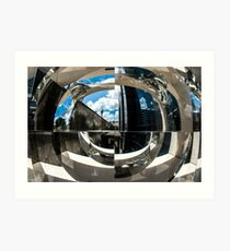 Reflection of building in an odd shaped mirror. Art Print