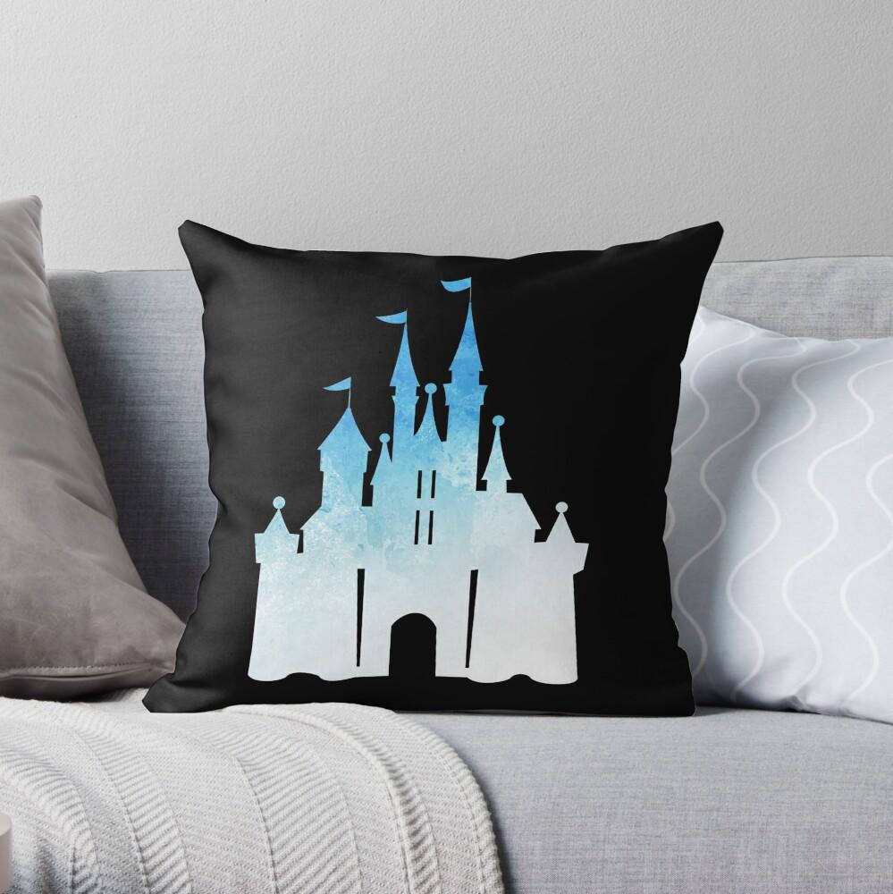 blue childhood dream - edit on black Throw Pillow