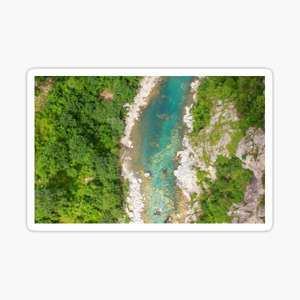 Turquoise river through rocky valley and forest Sticker