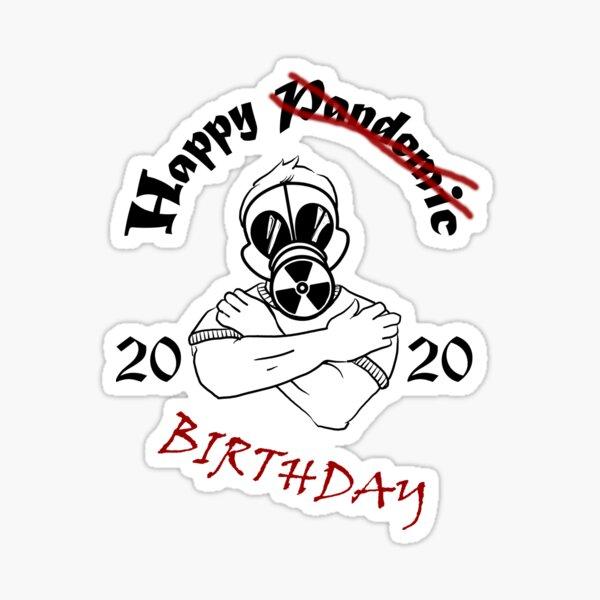 Gas Mask Guy Pandemic Birthday Sticker