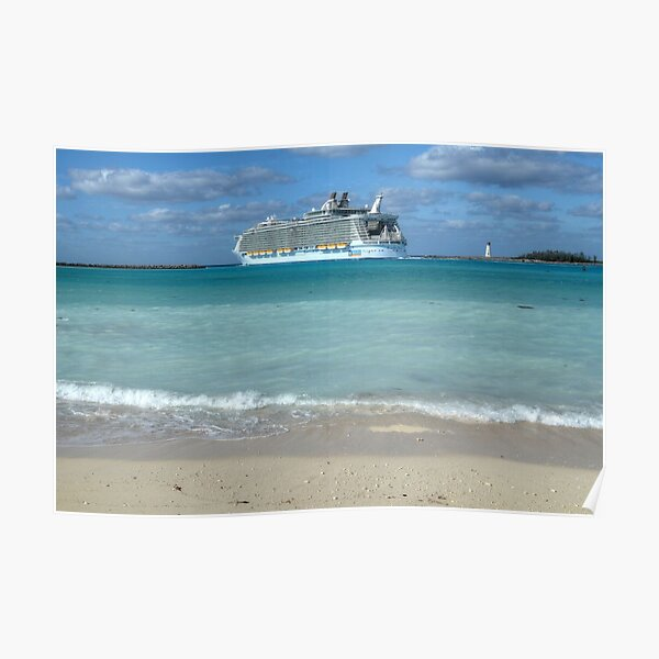 """The giant """"Allure Of The Seas"""" leaving Nassau Harbour in The Bahamas Poster"""