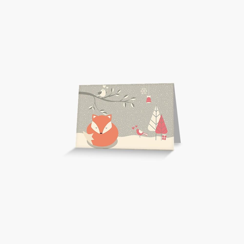 Weihnachtsbabyfuchs 06 Grußkarte