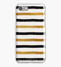Black and Gold Foil Stripes Pattern iPhone Case/Skin