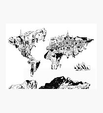 world map black and white 2 Photographic Print