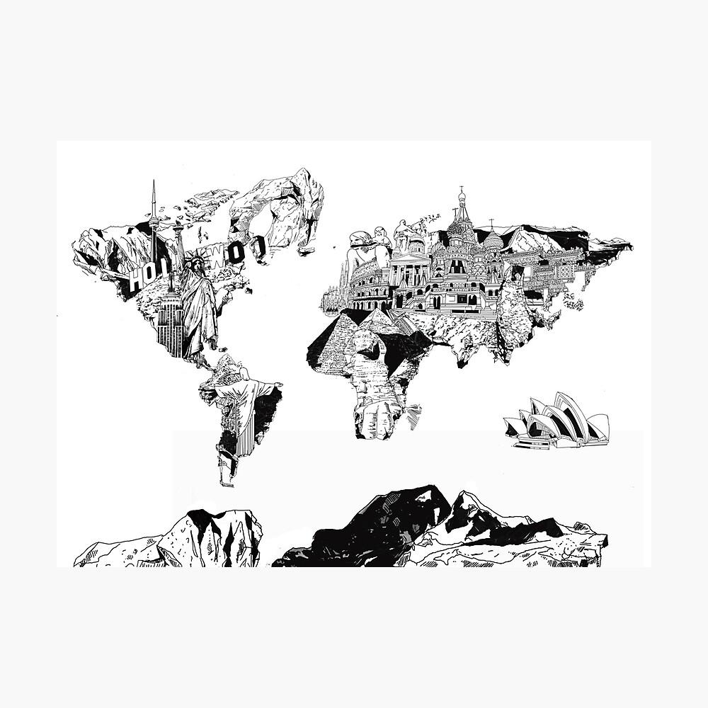 Weltkarte schwarz und weiß 2 Fotodruck