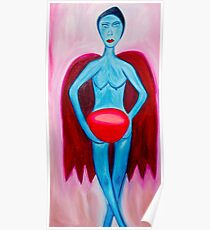 Blue Woman With Bowl Poster