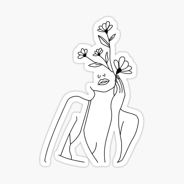 Copy of Single Line Woman With Flowers Sticker
