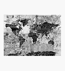 world map black and white 4 Photographic Print