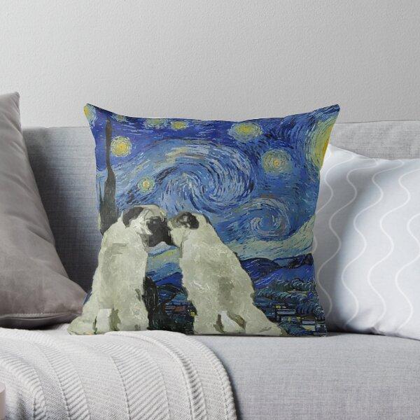 Starry Night Pugs Throw Pillow