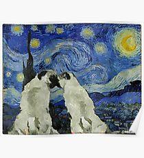 Starry Night Pugs Poster