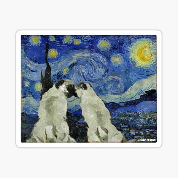 Starry Night Pugs Sticker