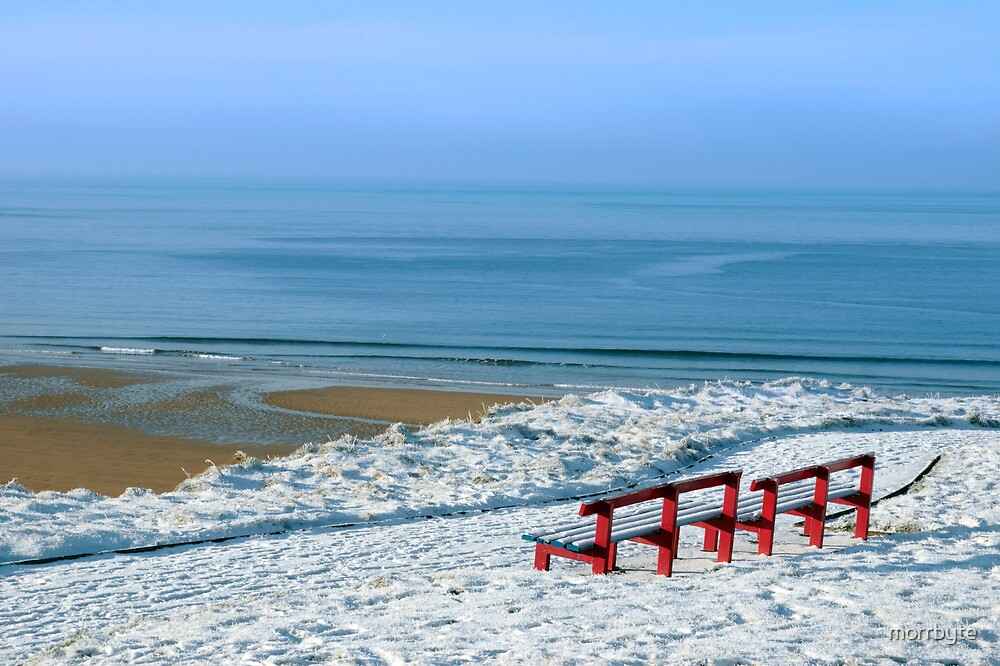 atlantic winter view and red benches by morrbyte