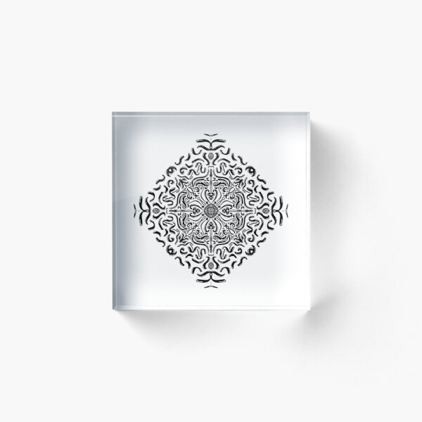 The wave - Mandala geometric wave lines Acrylic Block