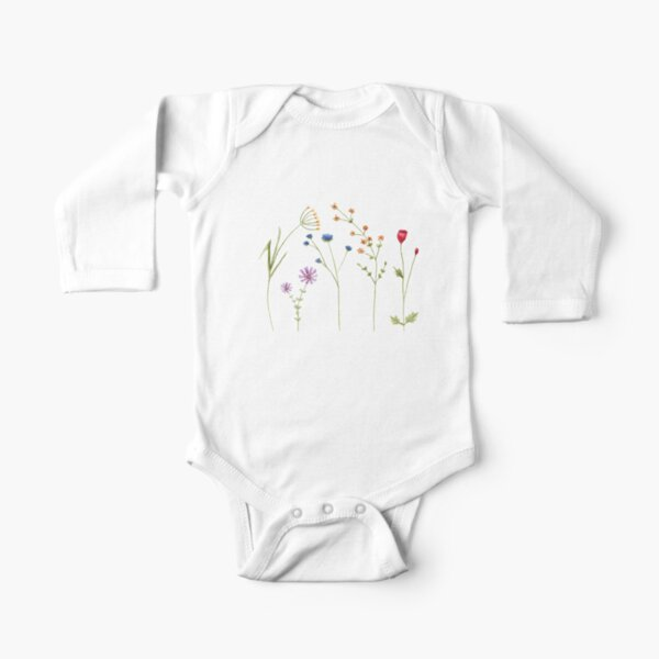 Wildflower Watercolour Tatra Cottage Long Sleeve Baby One-Piece