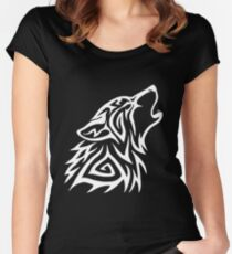 Tribal Wolf Howl - White Women's Fitted Scoop T-Shirt