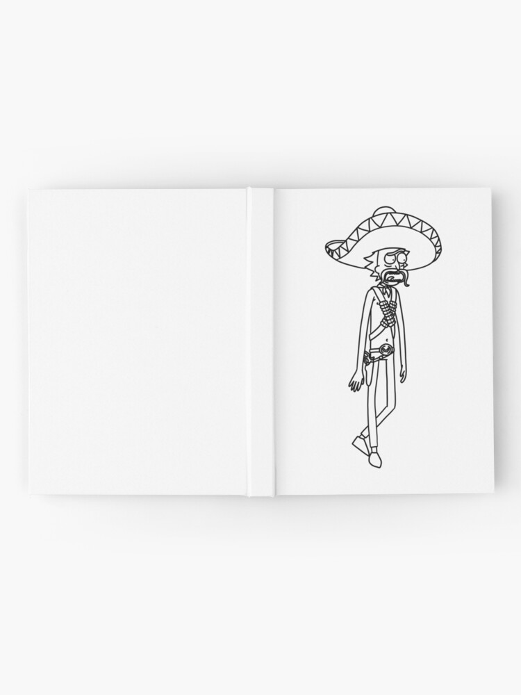 Alternate view of Mexican Rick Sanchez Sombrero Mustache | Rick and Morty character Hardcover Journal